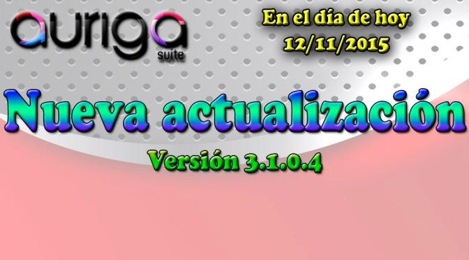 Nueva actualización Auriga Suite (3.1.0.4)